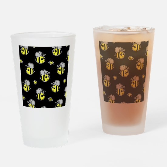 Bumble Bee Pattern Black Drinking Glass