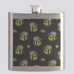 Bumble Bee Pattern Black Flask
