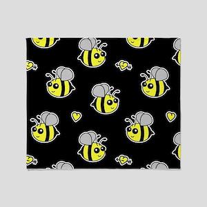Bumble Bee Pattern Black Throw Blanket