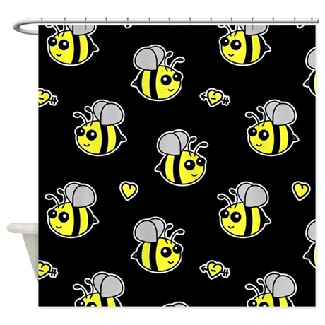 Gentil Bumble Bee Pattern Black Shower Curtain