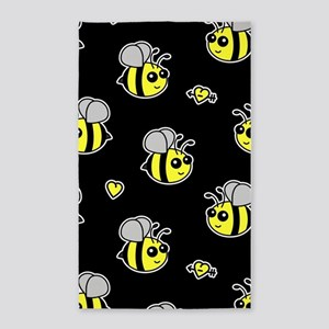 Bumble Bee Pattern Black Area Rug