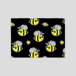 Bumble Bee Pattern Black 5'x7'Area Rug