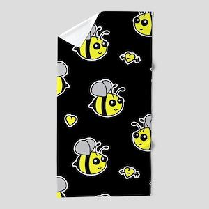 Bumble Bee Pattern Black Beach Towel