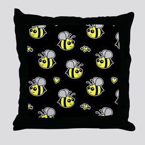 Bumble Bee Pattern Black Throw Pillow
