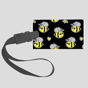 Bumble Bee Pattern Black Large Luggage Tag