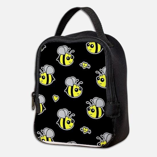 Bumble Bee Pattern Black Neoprene Lunch Bag
