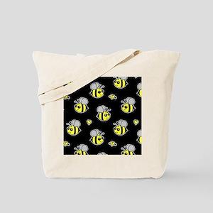 Bumble Bee Pattern Black Tote Bag