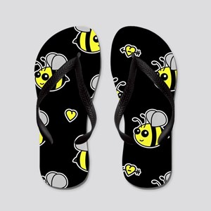Bumble Bee Pattern Black Flip Flops