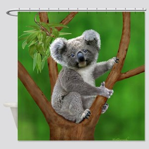 Blue-Eyed Baby Koala Shower Curtain