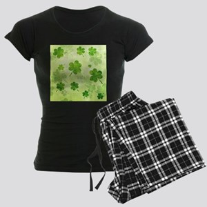 Green Shamrock Pattern Women's Dark Pajamas