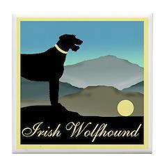 Irish Wolfhound Landscape Tile Coaster
