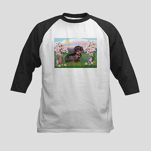 Blossoms / Dachshund Kids Baseball Jersey