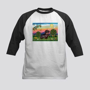 Doxie in Bright Country (WH) Kids Baseball Jersey
