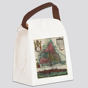 Vintage Map of Ghent Belgium (178 Canvas Lunch Bag
