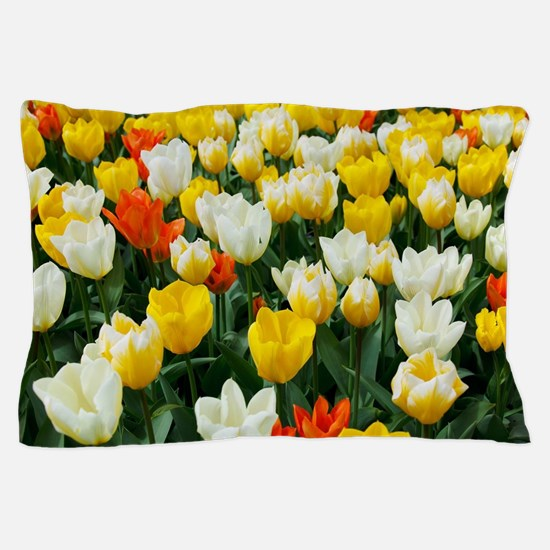 White, Yellow and Orange Tulips Pillow Case