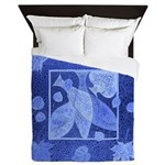 Blue fish and leaves Queen Duvet