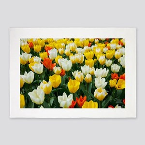 White, Yellow and Orange Tulips 5'x7'Area Rug