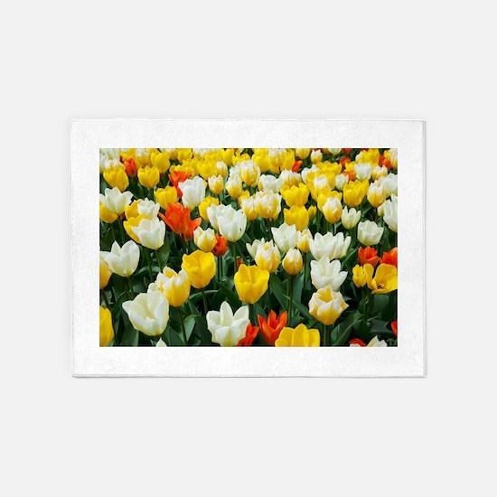 White, Yellow and Orange Tulips 5'x7'Area Rug