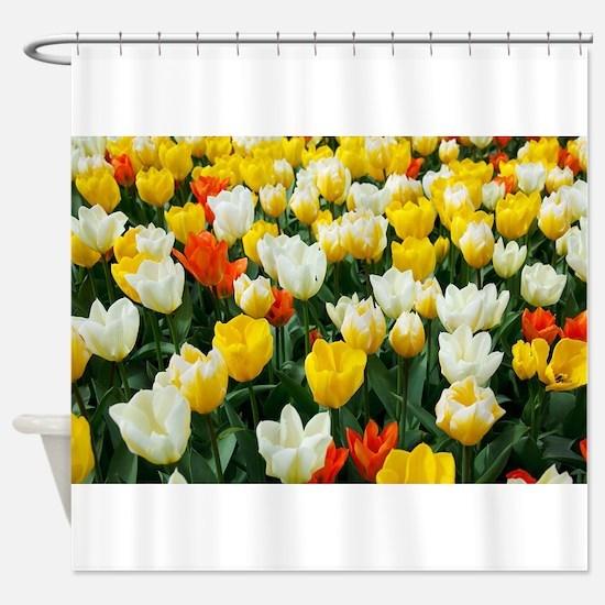 White, Yellow and Orange Tulips Shower Curtain