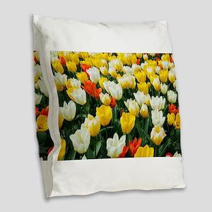 White, Yellow and Orange Tulip Burlap Throw Pillow
