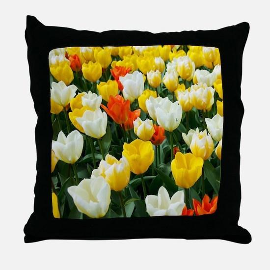 White, Yellow and Orange Tulips Throw Pillow