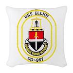 USS ELLIOT Woven Throw Pillow