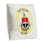 USS ELLIOT Burlap Throw Pillow