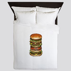 stacked burger drawing art Queen Duvet