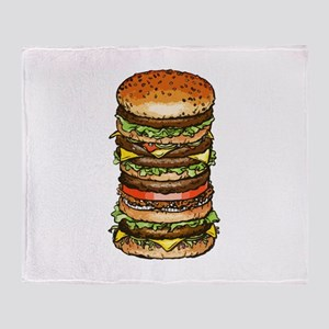 stacked burger drawing art Throw Blanket