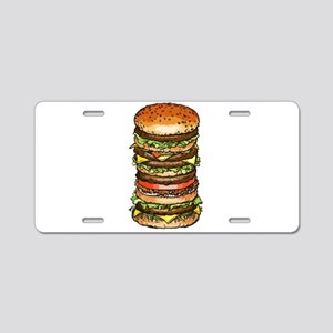 stacked burger drawing art Aluminum License Plate