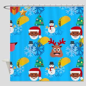 Black Santa Taco Christmas Shower Curtain
