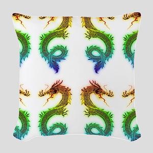 rainbow dragons art drawing Woven Throw Pillow
