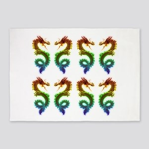 rainbow dragons art drawing 5'x7'Area Rug