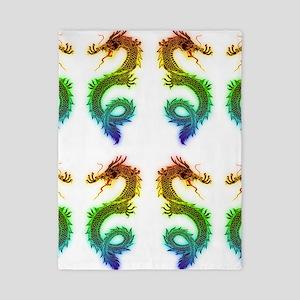 rainbow dragons art drawing Twin Duvet