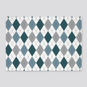 Blue Gray Argyle 5'x7'Area Rug
