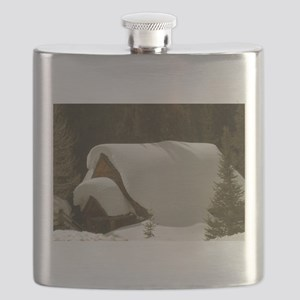 Snow-covered Cabin Flask