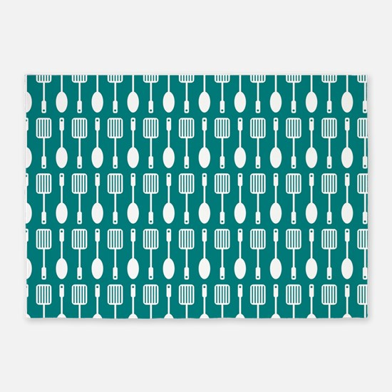 Teal and White Kitchen Utensils Pat 5'x7'Area Rug