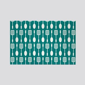 Teal and White Kitchen Utensils P Rectangle Magnet