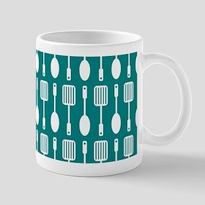 Teal and White Kitchen Utensils Pattern Mug