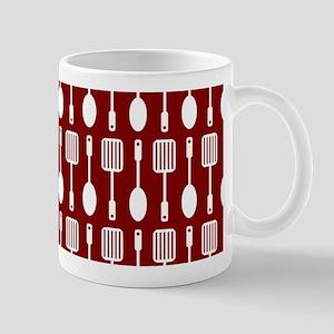 Red and White Kitchen Utensils Pattern Mug