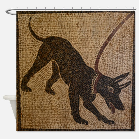 Pompeii Dog Mosaic Shower Curtain