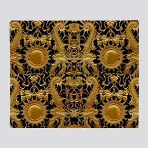 gold black antique pattern Throw Blanket