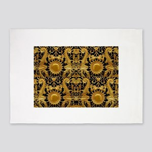 gold black antique pattern 5'x7'Area Rug