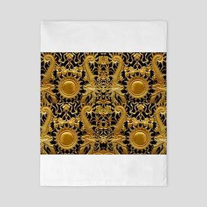 gold black antique pattern Twin Duvet