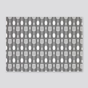 Gray Kitchen Utensils Pattern Backg 5'x7'Area Rug