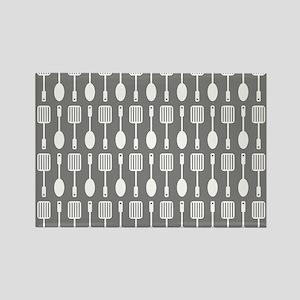 Gray Kitchen Utensils Pattern Bac Rectangle Magnet