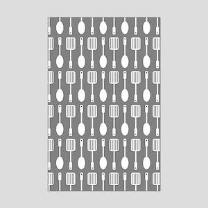 Gray Kitchen Utensils Pattern Ba Mini Poster Print