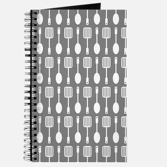 Gray Kitchen Utensils Pattern Background Journal