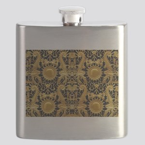 gold black antique pattern Flask