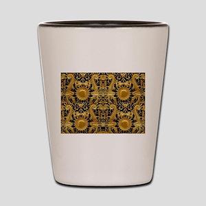 gold black antique pattern Shot Glass